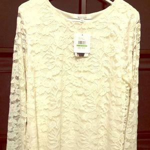 Ivory lace Ellen Tracy long sleeve top